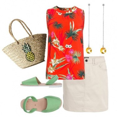 Outfit Top in fantasia tropicale
