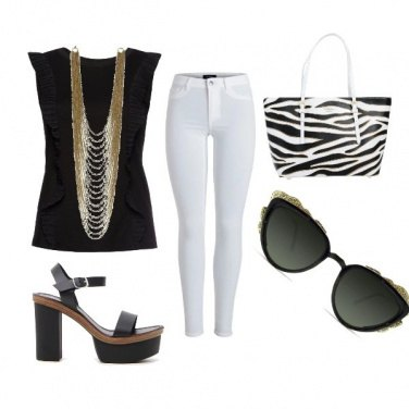 Outfit Black, White & Gold
