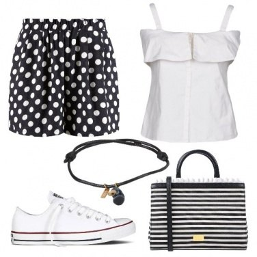 Outfit Pois e righe