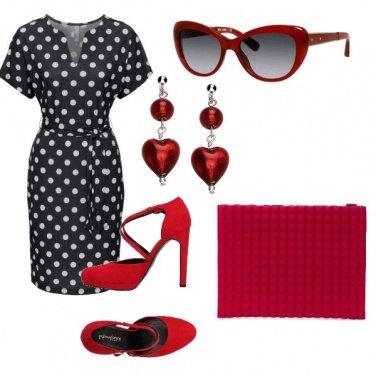 Outfit Rosso e pois