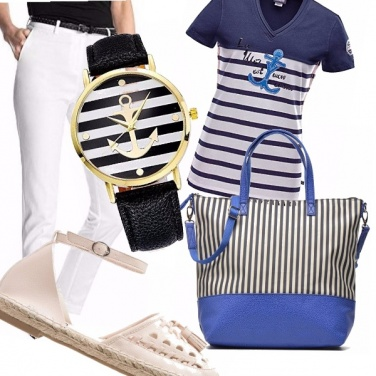 Outfit Casual a righe