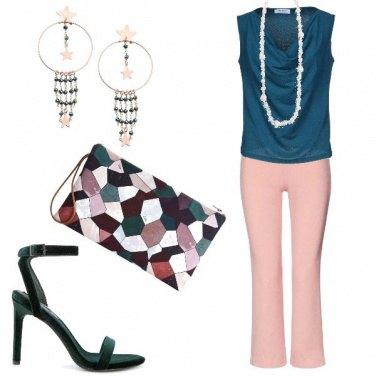 Outfit Rosa e petrolio