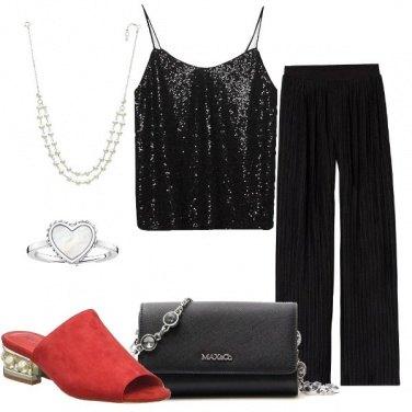 Outfit Pantalone a palazzo e ciabattina