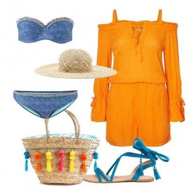 Outfit Playsuit arancione e bikini denim