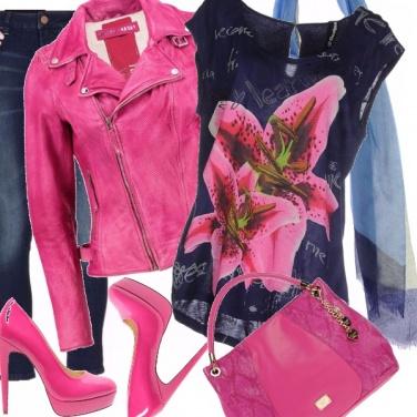 Outfit Rosa acceso e blu per casual-rock