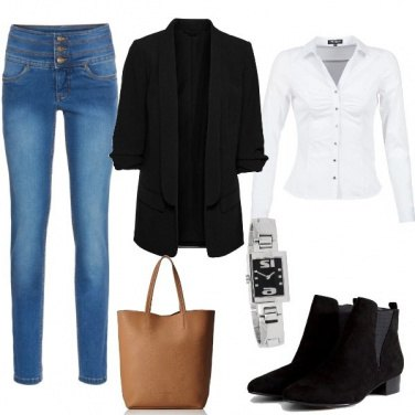 Outfit Jeans, camicia bianca, giacca