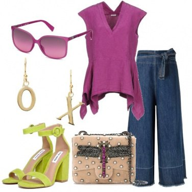 Outfit Blusa malva e jeans