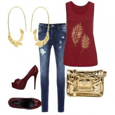 Outfit Serata in jeans e oro