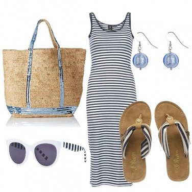 Outfit White and blue stripes