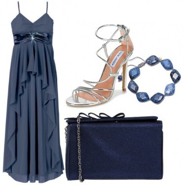Outfit Cerimonia blu e argento