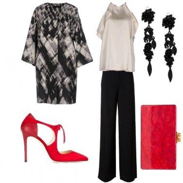 Outfit Cerimonia chic con un tocco di rosso