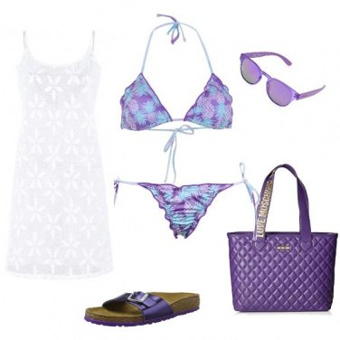 Outfit Viola in spiaggia