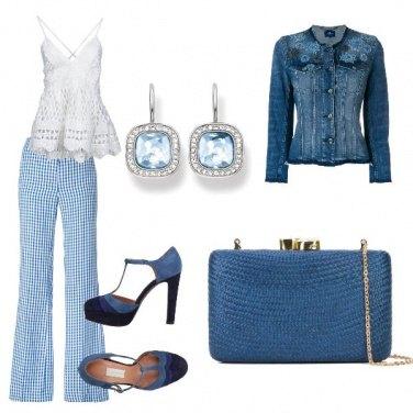 Outfit Vichy bianco a azzurro