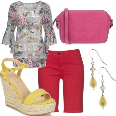 Outfit Red yellow pink and flowers