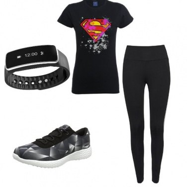 Outfit Total Black supergirl