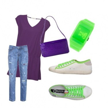 Outfit Purple green look