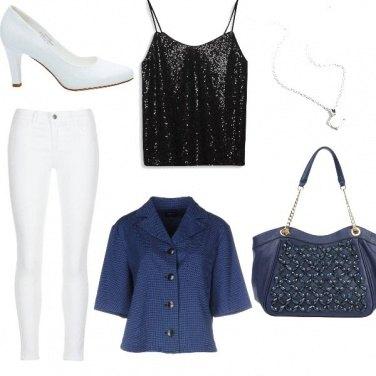 Outfit Blu bianco fashion