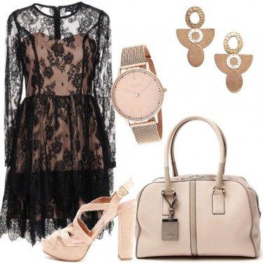 Outfit Pizzo e rosa cipria