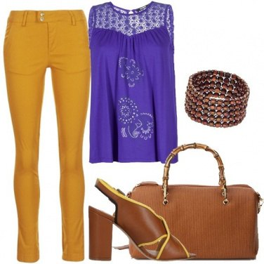 Outfit Giallo mostarda ed ultra violet