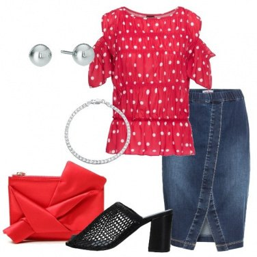 Outfit Gonna in jeans e blusa a pois