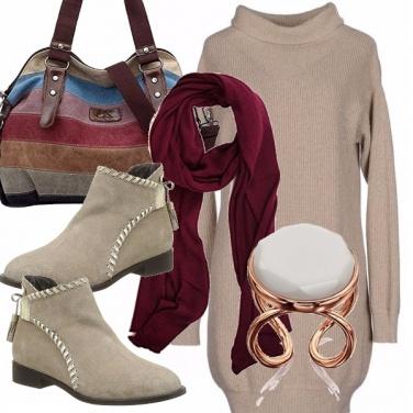Outfit Abito in maglia e tronchetti flat