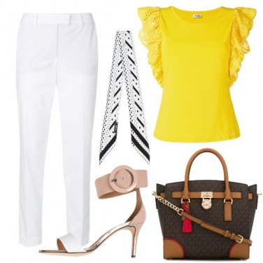 Outfit Donna leader in bianco e giallo