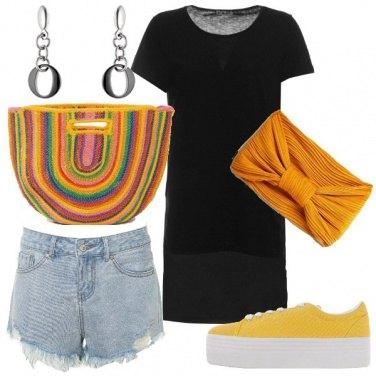 Outfit Borsa di paglia arcobaleno