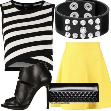 Outfit Bianco nero e giallo