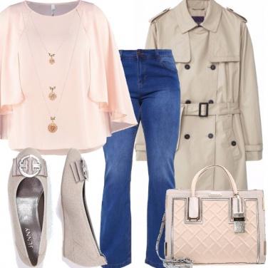 Outfit Cipria e denim