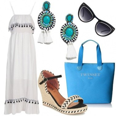 Outfit Bianco e turchese per il mare