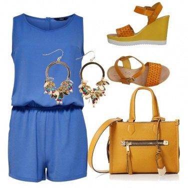 Outfit Giallo sole e azzurro cielo