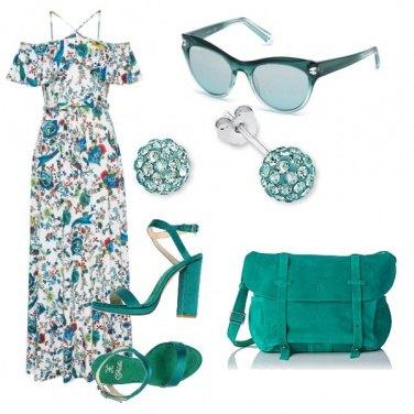 Outfit Smeraldo e fiori