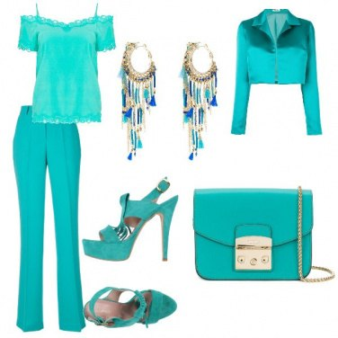 Outfit Monocromatico in tiffany