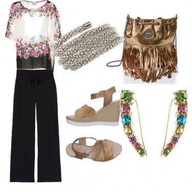 Outfit Chic nero e fiori