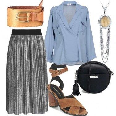 Outfit Trendy con la gonna silver