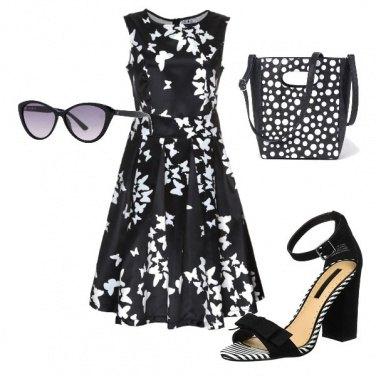 Outfit Abito con gonna ampia bianco e nero