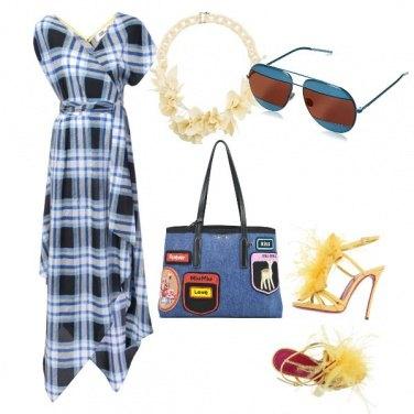 Outfit Vestito da giorno e sandali con piume