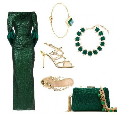 Outfit Green and gold luxury