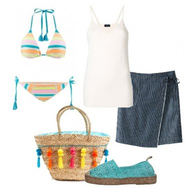 Outfit Al mare in turchese