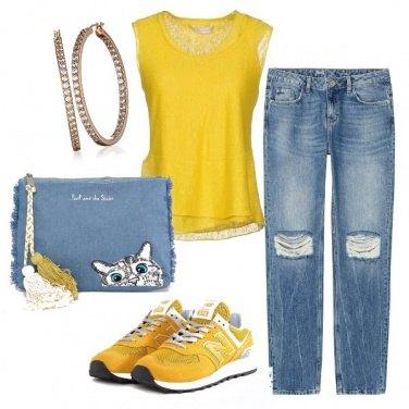Outfit Boyfriend jeans & meow bag