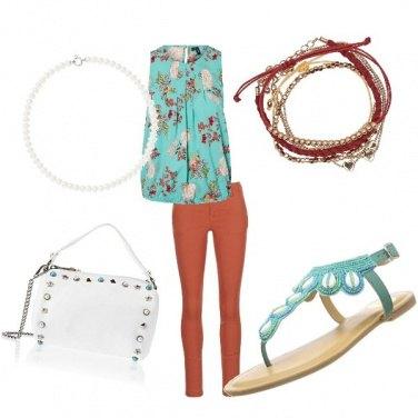 Outfit Turchese e mattone