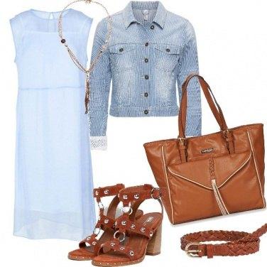 Outfit Azzurro e cuoio, e non sbagli mai!