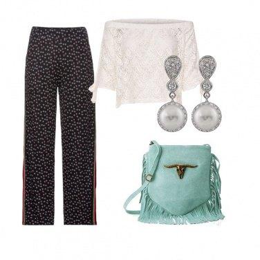Outfit La borsa turchese con le frange