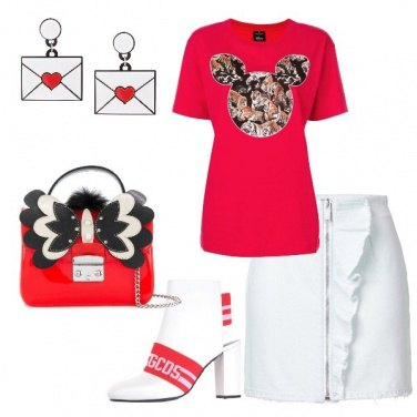 Outfit Trendy in bianco e rosso