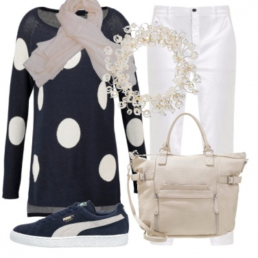 Outfit Pois bianchi