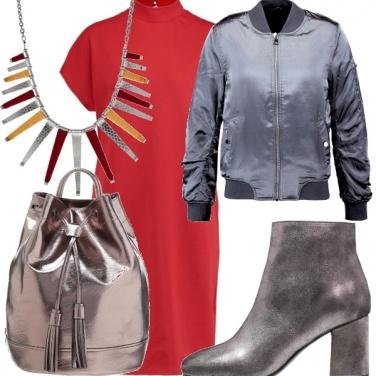 Outfit Argento e rosso