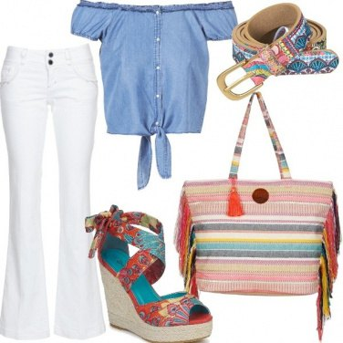 Outfit Top annodato e accessori multicolor
