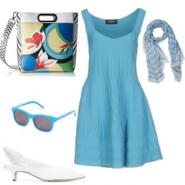 Outfit Azzurro e bianco apericena