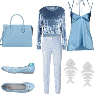 Outfit Serata celeste in riva al mare