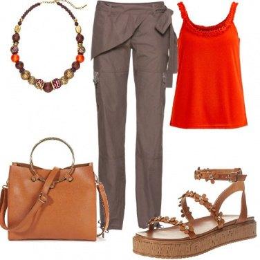Outfit Arancio e cuoio